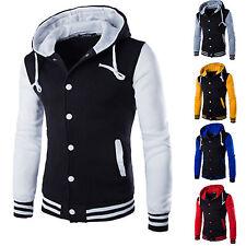 Mens Plain Hoodies Baseball Varsity College Button Jacket Gym Sweatshirt Tops AU