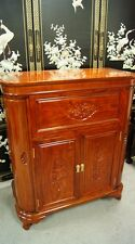 Solid Rosewood Flip Bar Fine Cherry Finish Wine Storage Cabinet