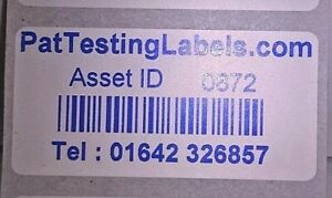 500 Coloured Personalised Barcode Asset Labels Stickers (PAT Testing) 51 x 25mm
