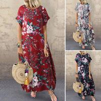 UK Womens Summer Short Sleeve Sundress Casual Loose Floral Print Long Maxi Dress