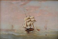 Original Antique oil painting c1850 Square Rigged Sailing Ship Seascape