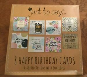 box of 8 assorted birthday cards for adults male and female + envelopes
