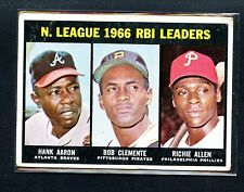 1967 TOPPS BASEBALL 1966 RBI LEADERS AARON CLEMENETE #242 SEE SCAN