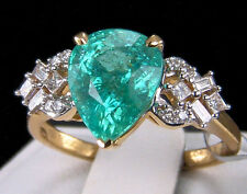 3.43tcw Mozambique Paraiba Tourmaline with Diamonds 18k Solid Gold Ring, Size 7