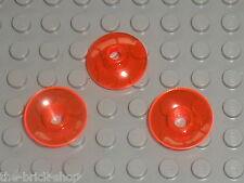 3 x LEGO TrDkOrange Round Dish ref 4740 / Set  3842 6208 8086 5974 8875 ...