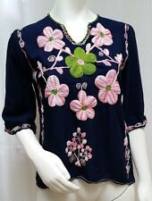 EMBROIDERED FLORAL TUNIC TOP - Boho Festival Peasant - Size S
