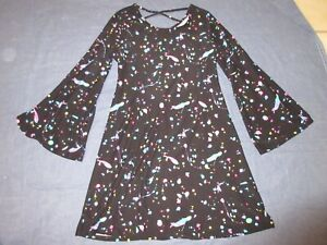 Girls PAINT SPLATTER Dress w/ BELL SLEEVES by JUSTICE - Size 8/10 - Black/Pink