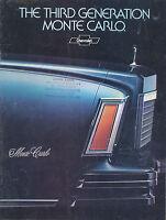 Chevrolet Monte Carlo Prospekt USA 1978  7/77 brochure Broschüre US-car catalog