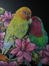 Lovebirds African birds Parrots Magnolia flower painting