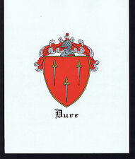 DURE - Coat of Arms & Family Crest - Vintage Print
