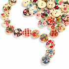 100PC Mixed 2 Holes White Round Pattern Wood Buttons Sewing Scrapbooking 15mm