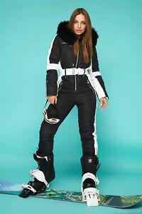 Women Winter Waterproof Ski Snowboard Sport Wear Suit Hooded Fox Fur Jumpsuit
