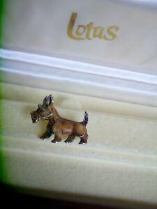 Vintage Terrier Brooch Marcasite Enamel