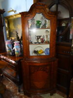 Pair Antique Irish Marquetry Large Corner Display Cabinets Dome Tops Inlaid