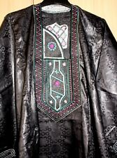 Classic-West-African-fully-embroiderered Swiss Black Brocade Danshiki ~Fast P&P!