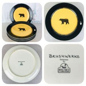 """Brushwerks by Big Sky Carvers Bear Dinner Plates ~ Set Of 5 ~ Measures 10-3/4"""""""
