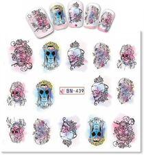 Nail Art Decals Transfers Stickers Halloween Skull Bride (BN439)