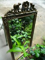 Vintage Ornate Mirror w. Etching-Marked Bainbridge #756-Wire Hanger-Heavy