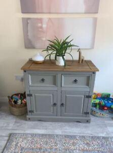 Vintage Sideboard Cabinet Rustic Storage Cupboard Unit Wooden Office Furniture