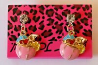 Betsey Johnson Crystal Rhinestone Enamel Tropical Drink Post Earrings