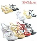 Women's Sexy Open Toe Low stiletto Heel Pump Evening Party Shoes Size 5 - 10 NEW