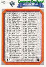 500 CHECKLIST 401-500 CL  BASEBALL CARD UPPER DECK 1992