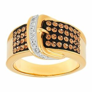 Brown & White Belt Buckle Ring with Crystals in Gold-Plated Bronze