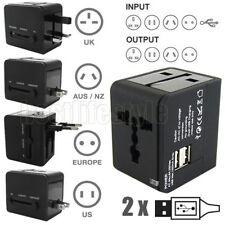 Universal World Travel Adapter Dual 2 USB Plug 2.1A Charger AC Power UK US EU AU