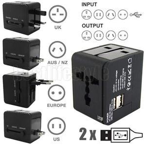 Travel Adapter Universal Adaptor 2 USB International Charger Plug Converter