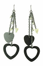 GOTHIC GLAM LADIES BLACK BEADED/STONE DANGLE EARRINGS, SILVER TONE (ZX2)