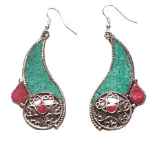 Peacock Dance- Gorgeous Turquoise/ Red Stone & Round Chrome Detail Earrings(Ns9)