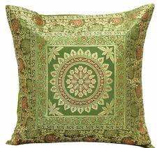 "Mandala 17"" Green Cushion Pillow Cover Silk Brocade Sofa Throw Home Indian Decor"