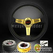 "GOLD 2.5"" DEEP DISH STEERING WHEEL QUICK RELEASE KIT FOR HONDA CIVIC 1996-2000"