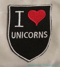Embroidered Retro Vintage Style I Love Unicorns Fantasy Black Patch Iron On USA