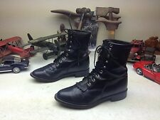 WESTERN JUSTIN MADE IN  USA BLACK LEATHER LACE UP KILTIE GRANNY BOOTS 7.5 D