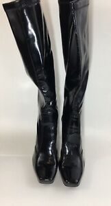 Franco Sarto Women's Black Patent Leather Squared Toe Knee High Boots Size 8m
