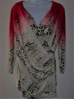 CALVIN KLEIN Faux Wrap Ombre Top M Animal/Snake Print 3/4 Sleeve V-Neck Stretch