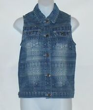 Icing Ladies Stretch Denim Aztec Print Vest Blue S/M NWT
