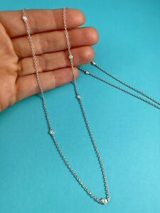 """Tiffany & Co Silver Elsa Peretti 7 Diamonds By The Yard Sprinkle Necklace 30"""""""