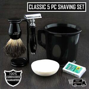 5Pc Shaving Kit Double Edge Safety Razor, Black Badger Brush, Stand, Soap & Mug