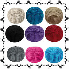 Knitted Moroccan Large Round Pouffe Footstool Chunky Cushion Seat 50Cm New