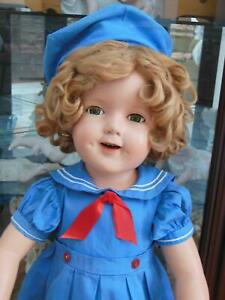 """VINTAGE 27"""" IDEAL COMPOSITION SHIRLEY TEMPLE DOLL HEAD  UNMARKED ORIG DRESS HAT"""