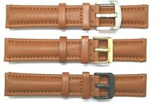 20mm or 22mm Brown Quality Genuine Leather Watch Band Silver, Black, Gold Buckle
