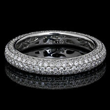 Round Shape 18k Gold Dia Certified Diamond 4.00 Carat Eternity Ring