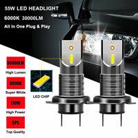 2Pcs H7 110W Car 5050 CSP LED Headlight Kit Canbus Error Free Lamp 30000LM 6000K