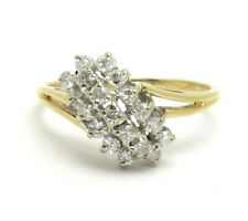 Cocktail Right Hand Ring .52ct 14k Yellow Gold Round Diamond Cluster