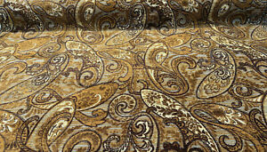Chocolate Teal Paisley Fairchild Chenille Upholstery Fabric By The Yard