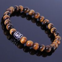 Men/Women Gemstone Bracelet 6mm Tiger Eye 925 Sterling Silver Fleur de Lis Bead