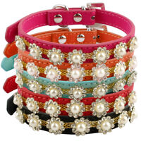 Bling Small Dog Collars Suede Leather for Poodle Pug Beagle Schnauzer Medium