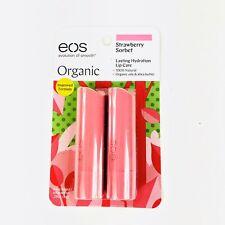 Eos Organic Lip Balm Sticks Strawberry Sorbet 0.14 oz each 2 pack New